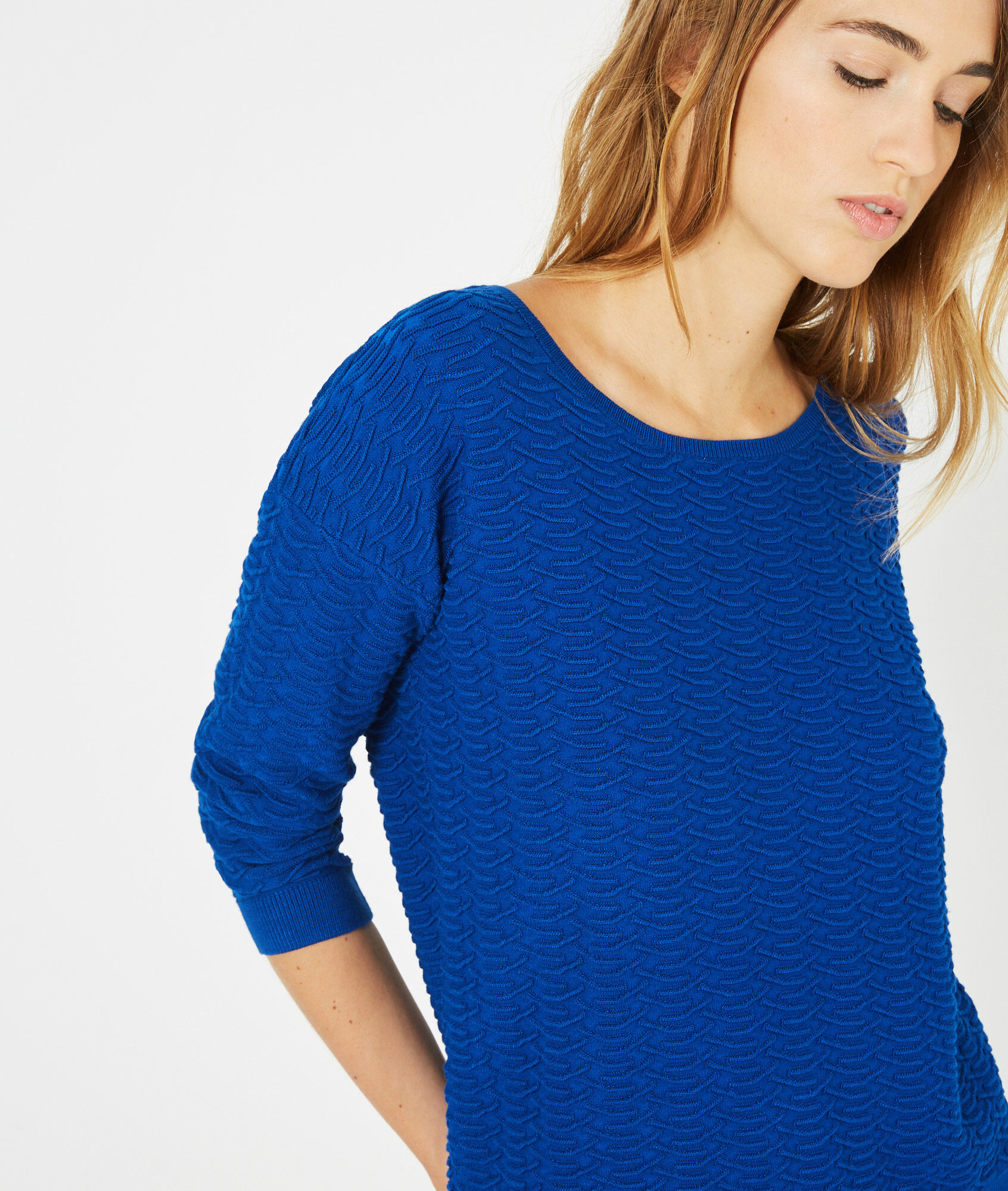 Pop royal blue sweater with stunning stitchwork - 123