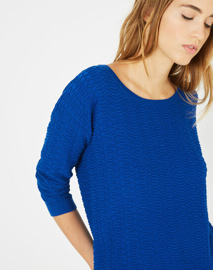 Pop royal blue sweater with stunning stitchwork PhotoZ | 1-2-3