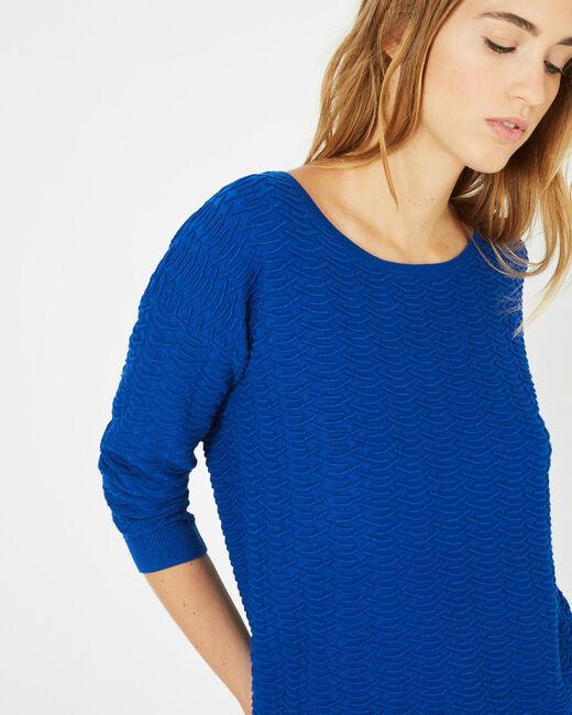 Königsblauer Pullover mit Zierstichen Pop (2) - 1-2-3