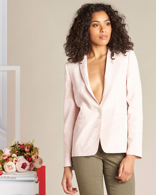 Demoiselle pale pink fitted jacket with leaf print (2) - 1-2-3