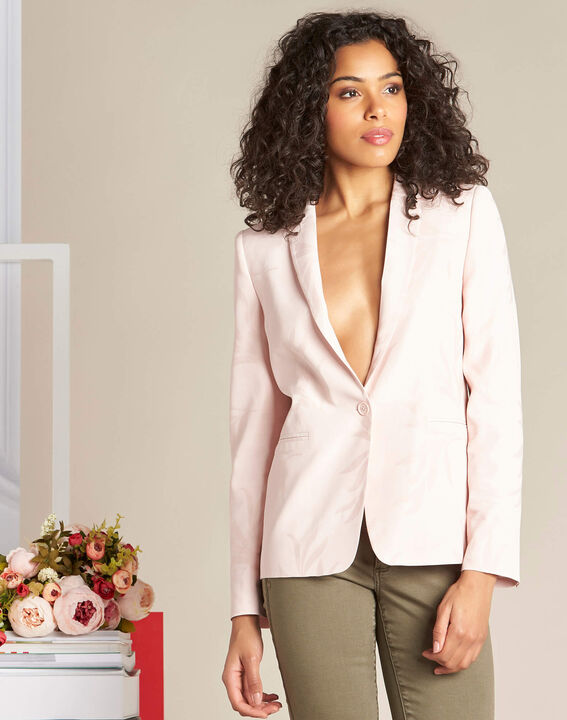 Demoiselle pale pink fitted jacket with leaf print (3) - 1-2-3