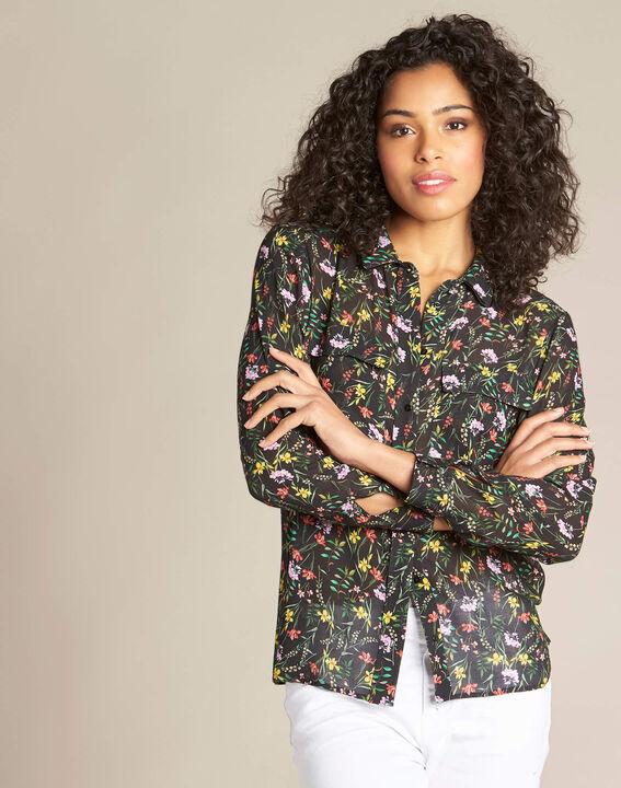 Davis black shirt with floral print (3) - 1-2-3