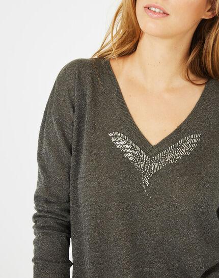 Phoenix shiny khaki sweater with open back (4) - 1-2-3