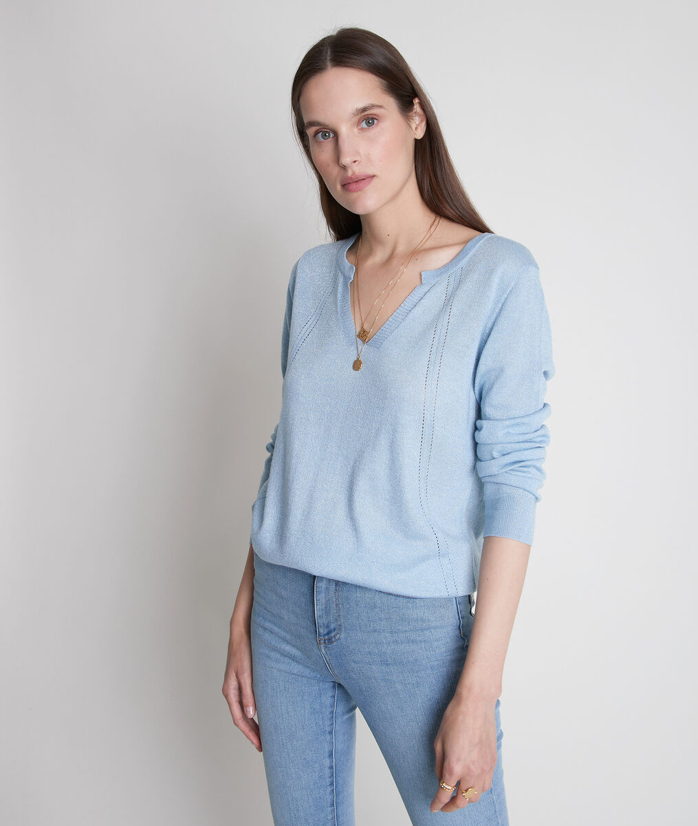 Blauwe trui van fijn breiwerk met Tunesische kraag Travys PhotoZ | 1-2-3
