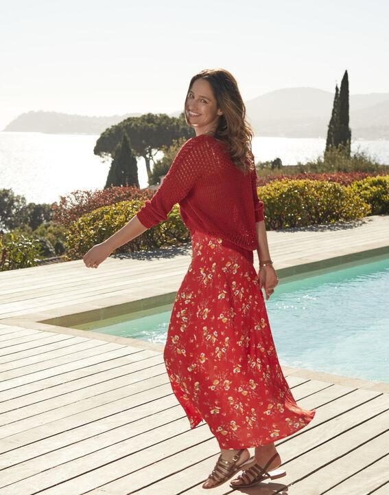 Jupe rouge longue imprimé fleuri Saya (1) - Maison 123