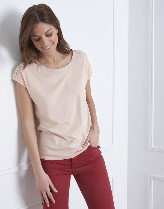 Tee-shirt rose finitions lurex Plume (1) - Maison 123
