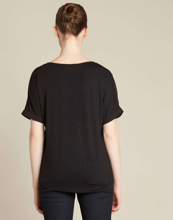 Garry black blouse with contrasting neckline (4) - 1-2-3