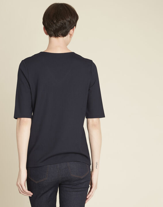Goeland navy blue T-shirt with eyelet detailing on the pockets (4) - 1-2-3