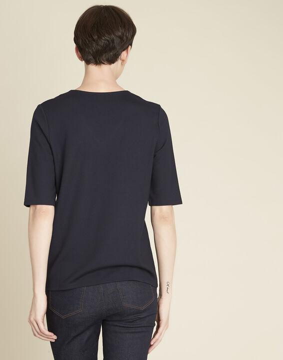 Goeland navy blue T-shirt with eyelet detailing on the pockets (4) - 1-2-3