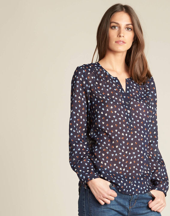 Guilene navy blue heart printed blouse (3) - 1-2-3
