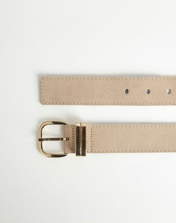 Rime velvet-effect wide beige leather belt PhotoZ | 1-2-3