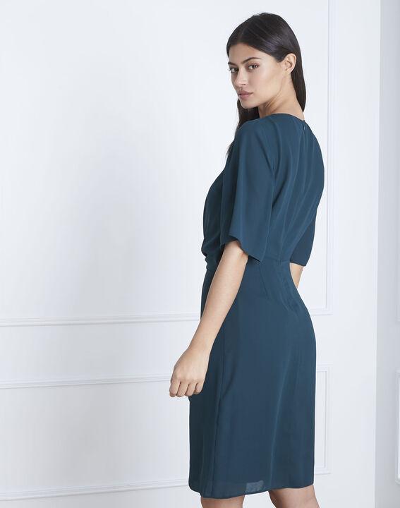 Robe vert foncé drapée Hermine (4) - Maison 123