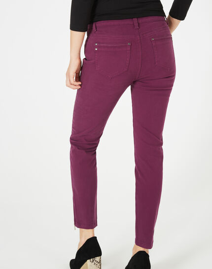 Pia blackcurrant 7/8 length satin trousers (4) - 1-2-3