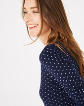 Pastille blue sweater with polka dots ink.
