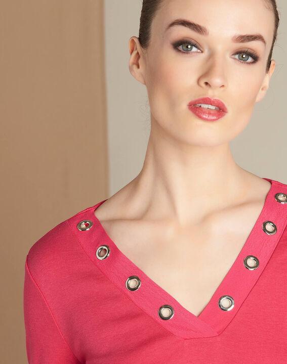 Basic fuchsia T-shirt with rounded neckline and eyelets PhotoZ | 1-2-3
