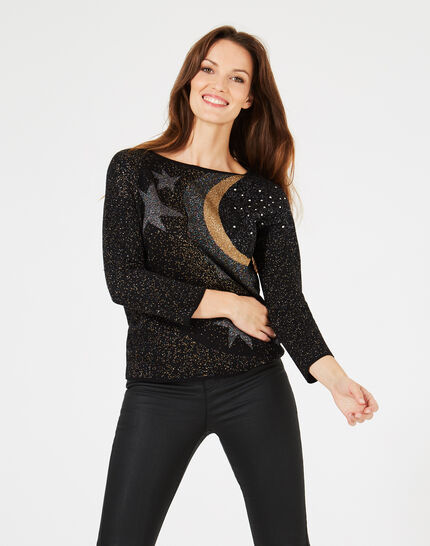 Prusse Black jacquard sweater adorned with Swarovski crystals (3) - 1-2-3