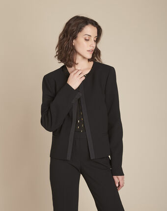 Schwarzer mikrofaser-blazer mit ripsband charme schwarz.