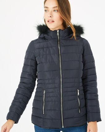 Rosie short navy blue puffer jacket with hood navy.