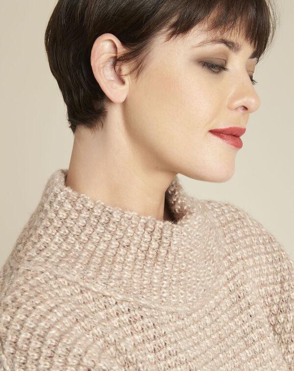 Beige trui met hoge kraag van gemengd wol Bami (2) - 37653