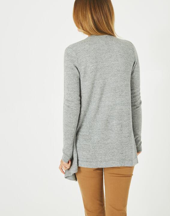 Pimprenelle marl grey, shiny cashmere waterfall cardigan (4) - 1-2-3