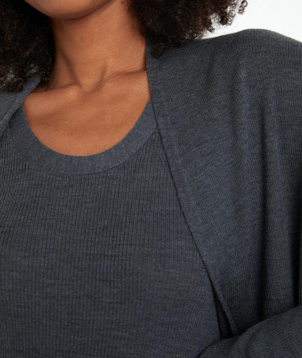 Gilet long en laine fine recyclée gris anthracite Tiago PhotoZ   1-2-3