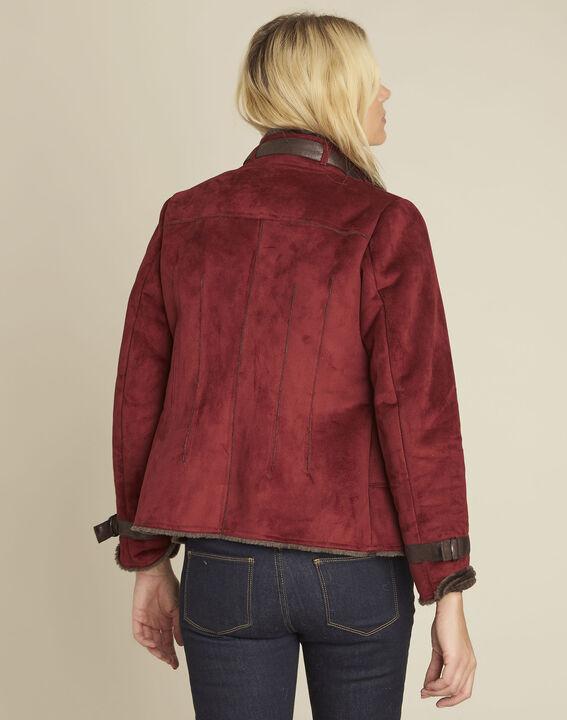 Sacha red high collar suedette jacket (4) - 1-2-3