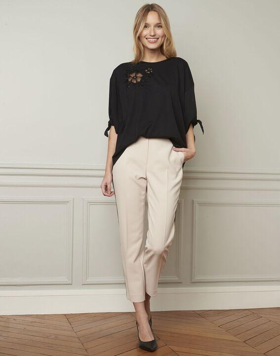 Crèmekleurige broek met zwarte band van microvezel Suzanne (2) - Maison 123