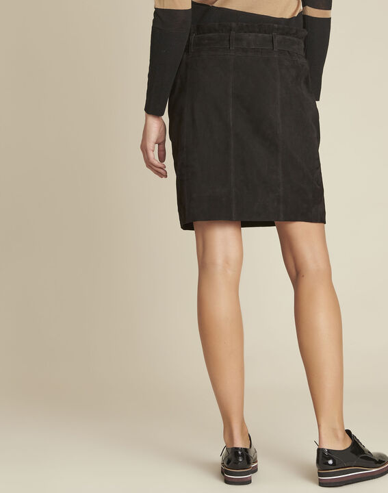Apache black suede leather skirt with eyelets (4) - 1-2-3