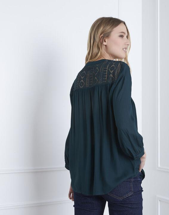 Donkergroene blouse met kant Veracine (4) - Maison 123