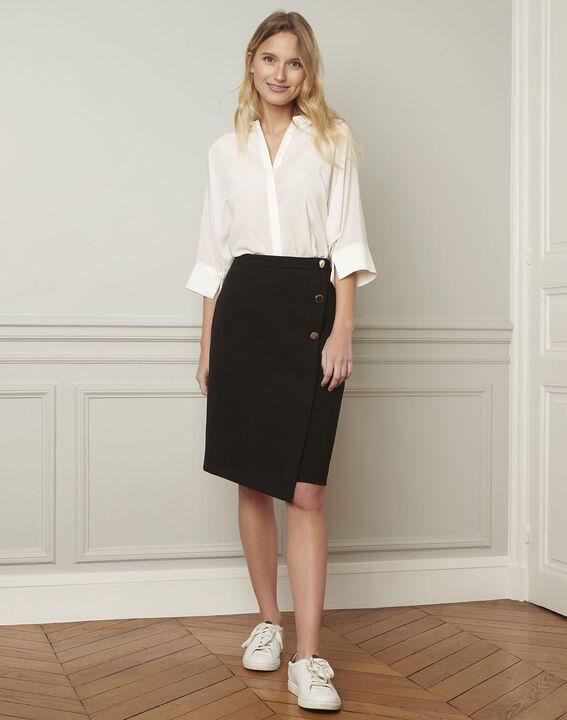 Ecrufarbene ausgestellte Bluse aus Seide Vania PhotoZ | 1-2-3