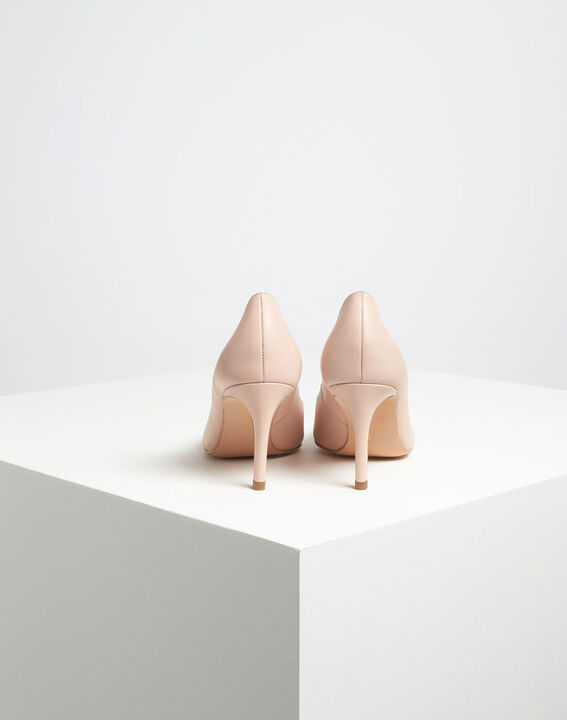 Kelly pale pink pointed-toe leather heels PhotoZ | 1-2-3