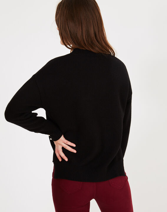 Pearl black sweater with beaded sleeves (4) - 1-2-3