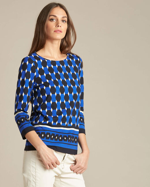 Evita block navy blue blouse with graphic print (2) - 1-2-3
