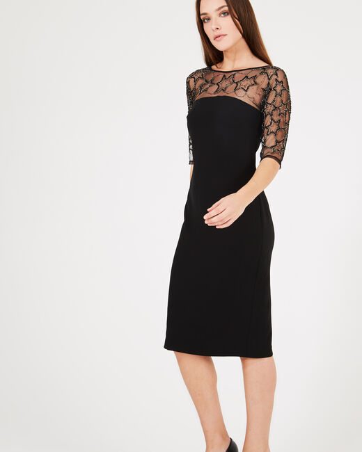 Schwarzes Kleid mit Tüll-Einsatz und Stickerei Grace (1) - 1-2-3