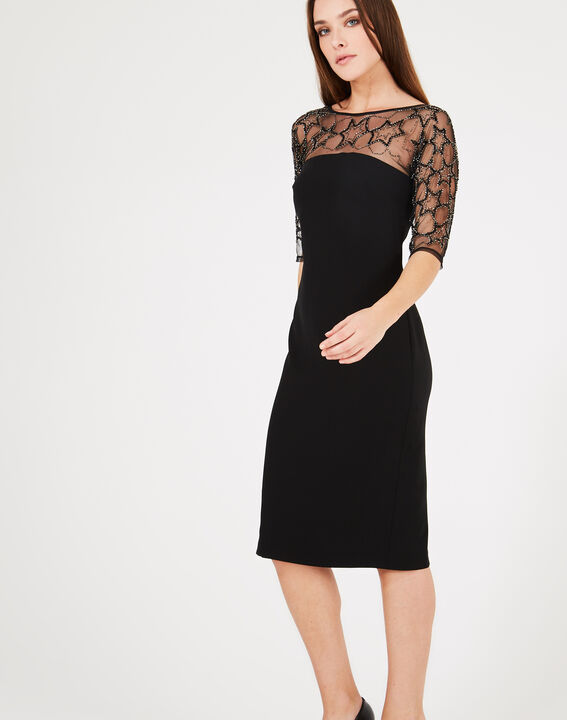 Grace black dress with tulle and embroidered inserts (2) - 1-2-3