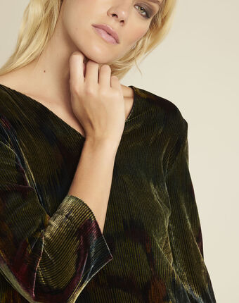 Denise khaki printed dress with a touch of velvet kaki.