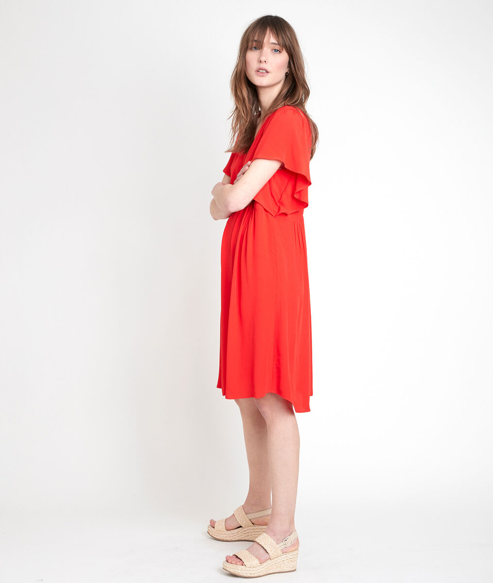 Robe en viscose recyclée rouge Callo PhotoZ | 1-2-3