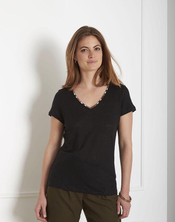 Tee-shirt noir encolure brodée Pekin PhotoZ   1-2-3