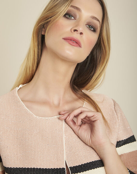 Batisse rose cardigan with stripes and 3/4 length sleeves (3) - Maison 123