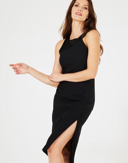 Schwarzes Schlitz-Kleid mit Strass-Ausschnitt Grenade (2) - 1-2-3