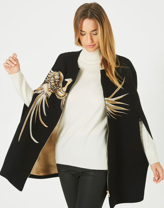 Joenix black, zipped wool cape with embroidered phoenix (5) - 1-2-3