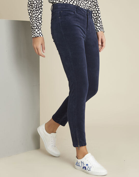 Marineblaue Slim Jeans aus Samt Vendome (1) - 1-2-3
