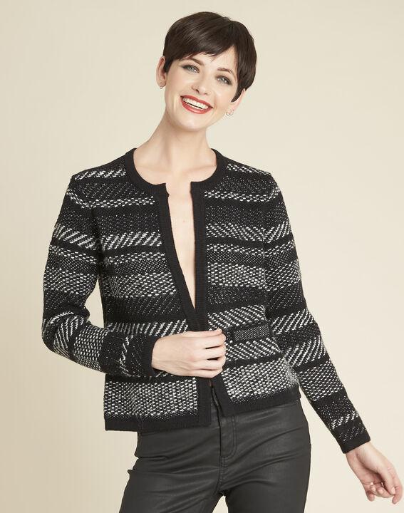 Beatrice black knit striped jacket PhotoZ | 1-2-3