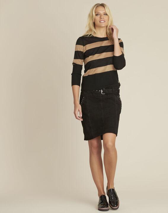 Zwarte gestreepte trui van gemengd wol Bertin (2) - Maison 123