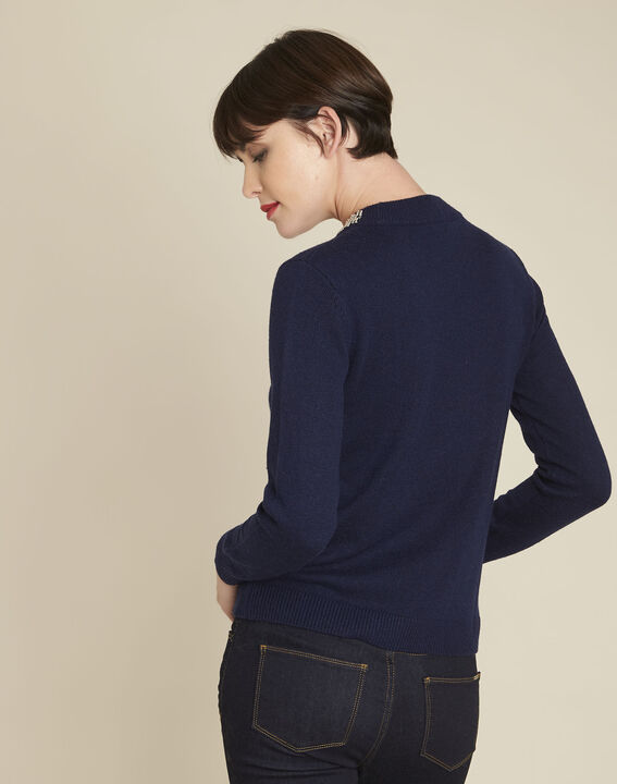 Bulle navy wool mix pullover with jewel collar (4) - 1-2-3