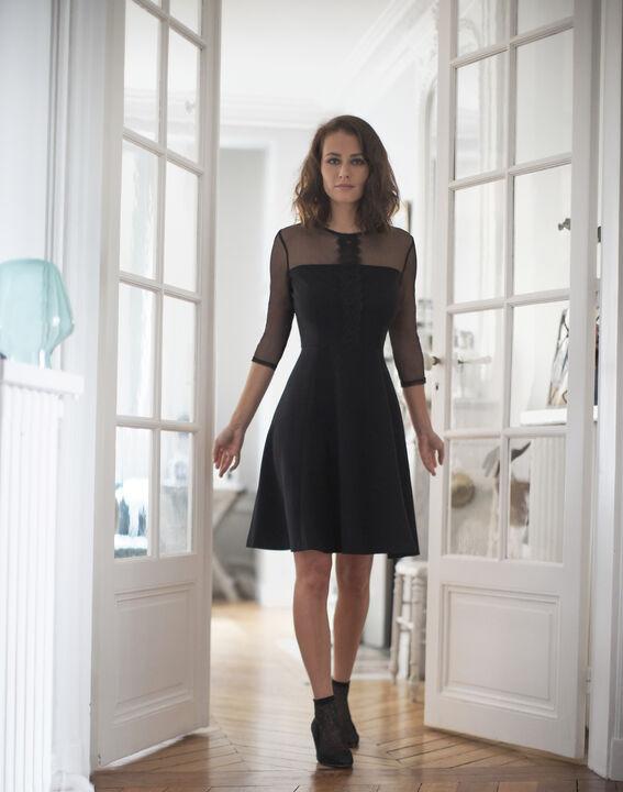 Robe noire empiècements tulle et dentelle Nadia - EXCLU WEB PhotoZ | 1-2-3