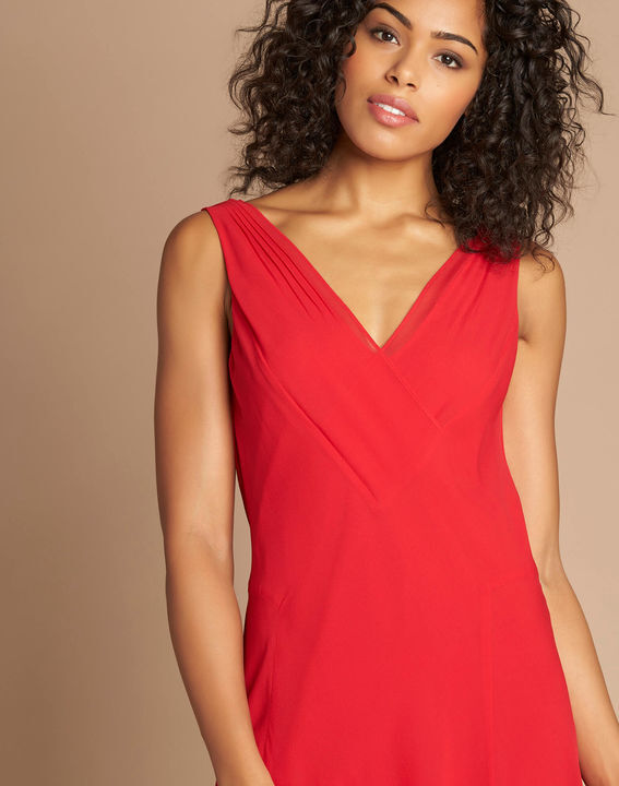 Foret red silk swirly midi dress (2) - 1-2-3