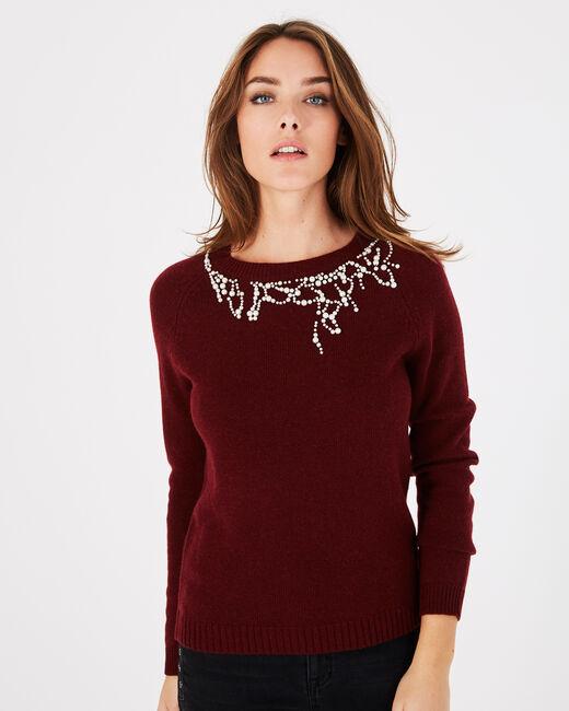 Karminroter Pullover aus Woll-Mix mit Perlen Perle (2) - 1-2-3