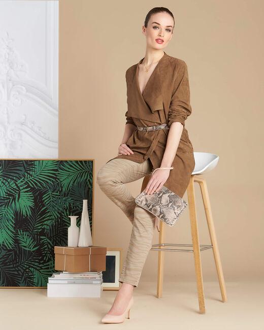 Beigefarbene Slim-Fit-Jeans mit Zebra-Print Passy (1) - 1-2-3