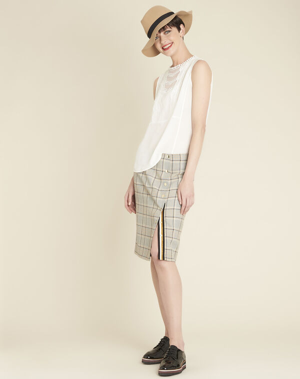 Abel check skirt with side slit (2) - 1-2-3